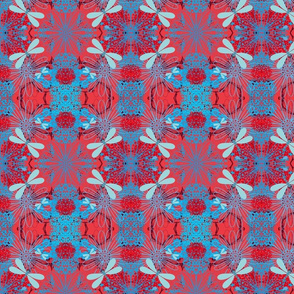 Flowers and Dragon Flies in Red and Blue