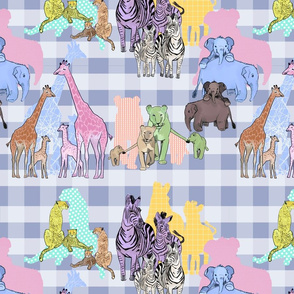 Lilac gingham with African animals