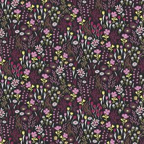 Micro Ditsy Floral Pattern Dark Pink