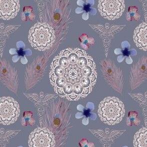 storm gray floral caduceus