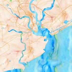watercolor map charleston, SC IOP kiawah
