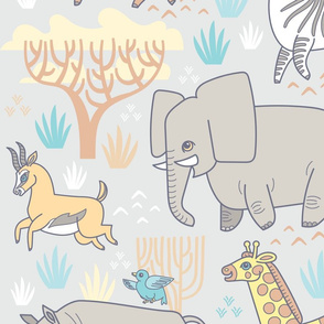 Safari Smiles in Gray (Wallpaper)