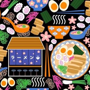 (S) Tokyo Ramen Shop - Small on Black - Japanese / Asian Food / Cuisine