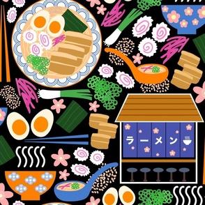(L) Tokyo Ramen Shop - Large on Black - Japanese / Asian Food / Cuisine