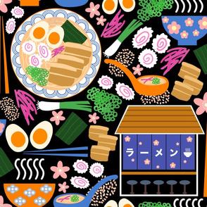 (XL) Tokyo Ramen Shop - Jumbo / XL on Black - Japanese / Asian Food / Cuisine