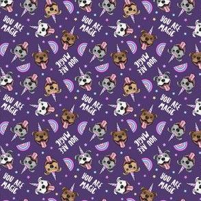 "(3/4"" scale) Unicorn Pit Bulls - cute pit bull unicorns -  you are magic - purple - C20BS"