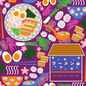 (XL) Tokyo Ramen Shop - XL / Jumbo on Purple / Plum - Japanese / Asian Food / Cuisine