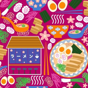 (S) Tokyo Ramen Shop - Small on Magenta Pink - Japanese / Asian Food / Cuisine