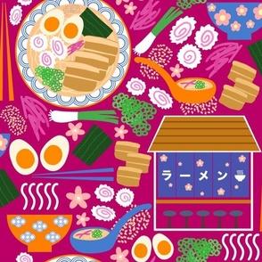 (M) Tokyo Ramen Shop - Medium on Magenta Pink - Japanese / Asian Food / Cuisine
