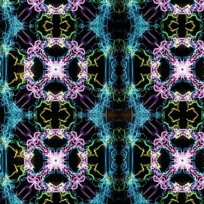 Multicolored and black mirrored print