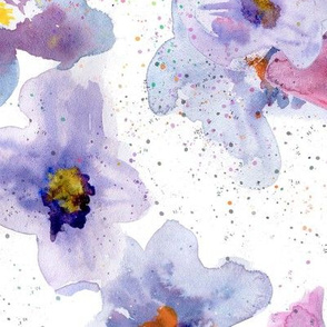 Violets with watercolor splash
