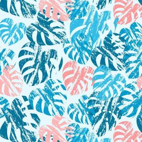 Monstera Leaves Blue Medium