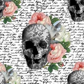 pink skull roses sklbw01
