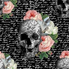pink skull roses sklbw02