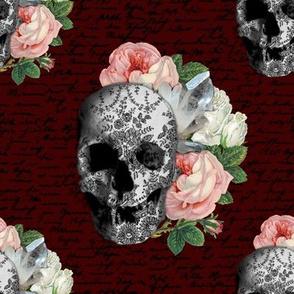pink skull roses sklred01