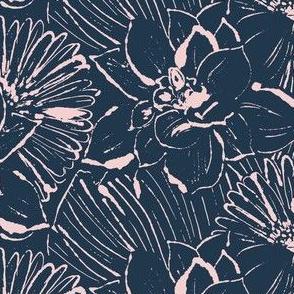 Monoprint flowers midnight pink