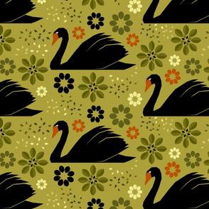 Papercut Swans Black