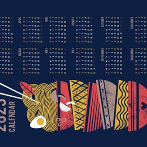 Noodles connection calendar tea towel // midnight blue background red and taupe brown bowls yellow pasta