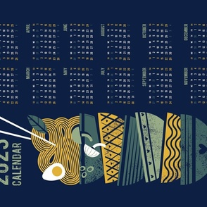 Noodles connection calendar tea towel // midnight blue background pine and sage green bowls yellow pasta