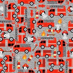 Gray Red Firetruck Dalmatian Dogs