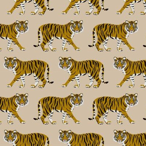 Tiger Parade -Tan -small by Heather Anders
