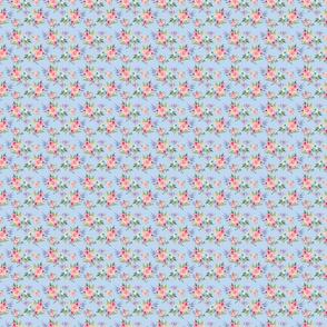 watercolor flower bouquet   blue background