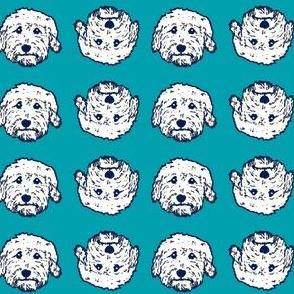 Doodle faces on blue background