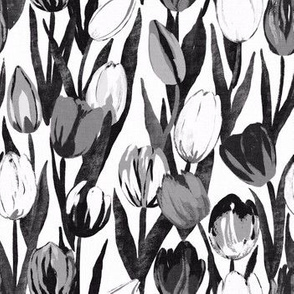 Tulip Bloom in black and white