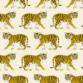 Tiger Parade -Ochre on Cream -small by Heather Anderson