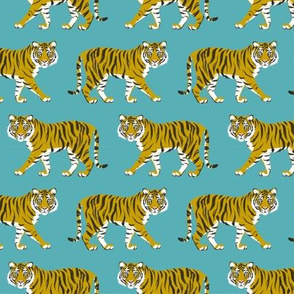 Tiger Parade -Ochre on Teal -small by Heather Anderson