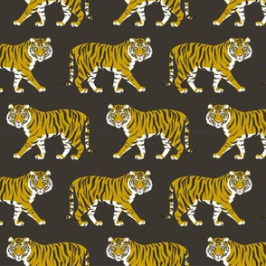 Tiger Parade -Ochre on Ebony -small by Heather Anderson