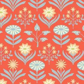 Tami Mod Floral in Red Orange Blue and Cream - LARGE Scale - UnBlink Studio by Jackie Tahara