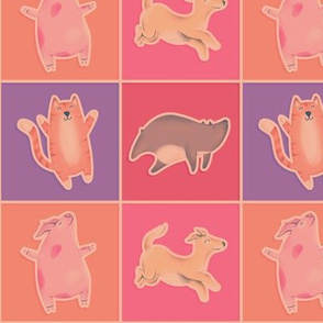 Cute Animals with Cat Pig Dog & Bear Retro Color Blue & Pink Checkered Squares