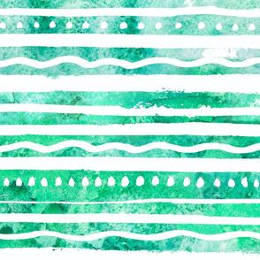 Green Watercolor Boho Stripes