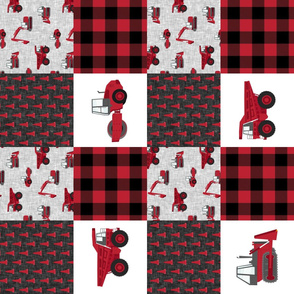 Construction Nursery Wholecloth - construction trucks - red  plaid (90)  - LAD19