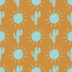 cactus sun // turquoise and gold
