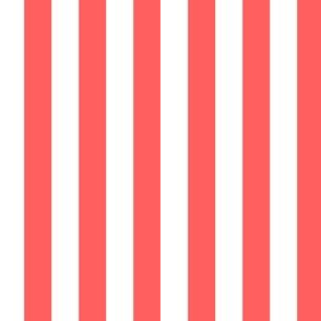"""1/2"""" Coral and White Stripes - Vertical - Half Inch / 1/2 Inch / Half In / 1/2 In / 1/2in / 0.5 Inch"""