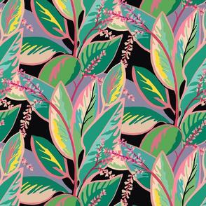 Small Tropical ti-leaf design-aqua pink