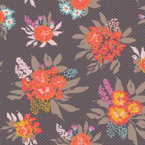 Floral bouquets on dark brown background