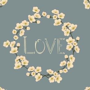 Love, floral frame