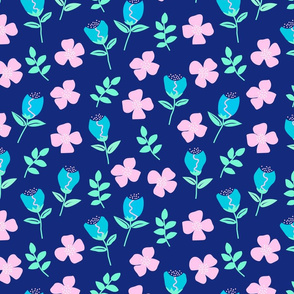 Flower Emotion on Dark Blue