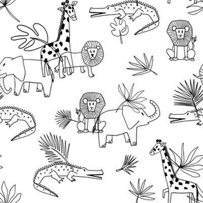 Safari outline coloring pattern