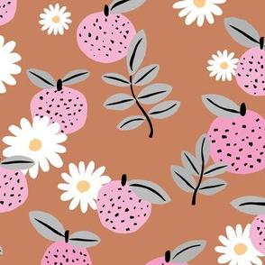 Sweet boho citrus garden and daisies botanical summer nursery design girls rust pink gray LARGE