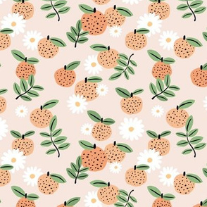 Sweet boho citrus garden and daisies botanical summer nursery design girls orange creme beige green