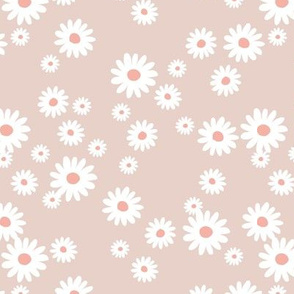 Summer day daisies minimal abstract Scandinavian boho style nursery girls soft latte beige sand coral