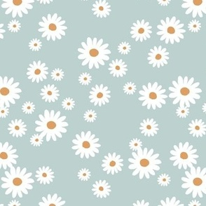 Summer day daisies minimal abstract Scandinavian boho style nursery girls soft cool blue