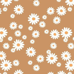 Summer day daisies minimal abstract Scandinavian boho style nursery girls caramel brown coral
