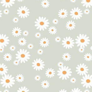 Summer day daisies minimal abstract Scandinavian boho style nursery girls soft pastel mint green