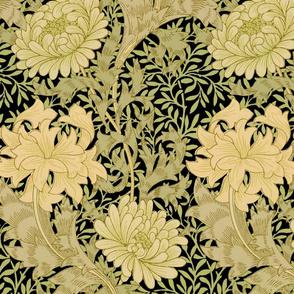 William Morris ~ Chrysanthemum ~  Original Bright on Black