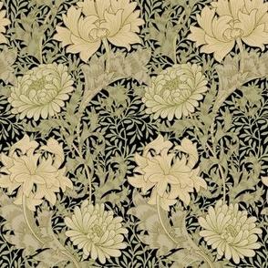 William Morris ~ Chrysanthemum ~  Original on Black ~ Small